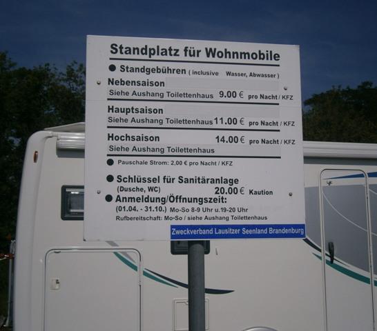 Wohnmobilstellplatz, Buchwalde - cennik