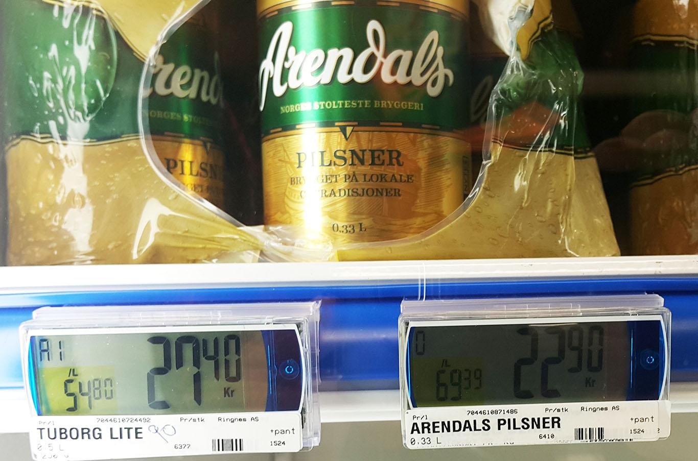 Cena piwa, Norwegia